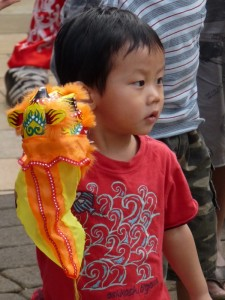 Boy with Dragon Puppet