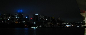 Approaching Sydney and Opera House at Night