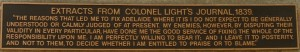From Colonel Light's Journal