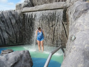 Janice Enjoying the Water Falls on Deck 10