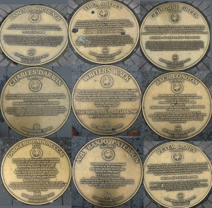 Collage of Writers Walk Medallions