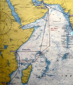 Map Showing Altered Route to Avoid Pirates